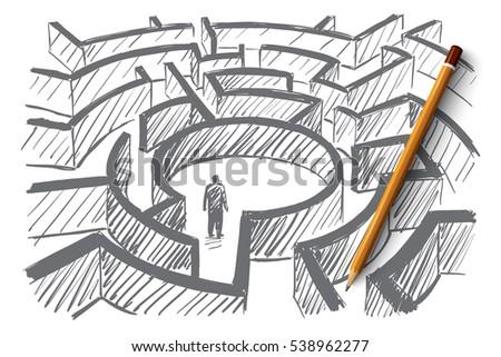 vector hand drawn labyrinth
