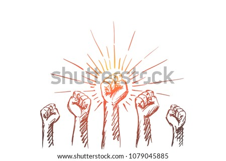 Vector hand drawn Leaders concept sketch with raised hands and strongly clenched fists