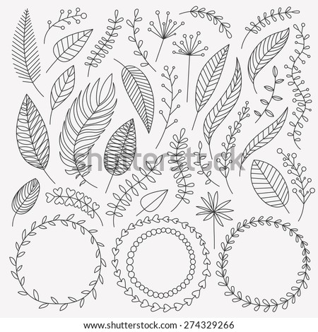 Vector hand drawn leaves set. Collection of Vintage elements. Greeting stylish illustration of leaves, flowers, berries, twigs, wreaths. Good for card, invitation, poster, web page design, journaling