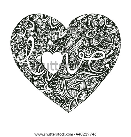 Vector Hand Drawn Line Art Doodle Ornate Heart Shaped Green Pattern In Zentangle Style