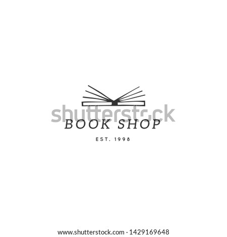 Vector hand drawn logo template, open book. Publishing, writing and copywrite theme. For writers, copywriters and publishers, for journalists and bloggers. For business identity and branding.