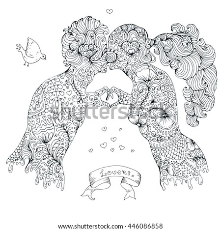 vector hand drawn love kissing