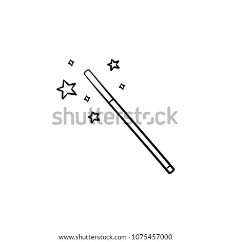 Vector hand drawn magic wand outline doodle icon. Magic wand sketch illustration for print, web, mobile and infographics isolated on white background.