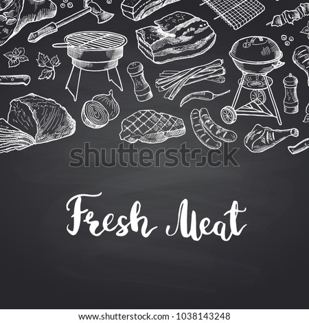 Vector hand drawn meat elements background illustration with lettering. Banner meat menu for restaurant