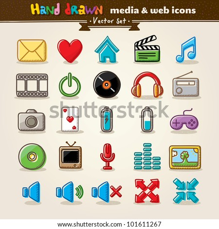 Vector Hand Drawn Media And Entertainment Web Icons - stock vector