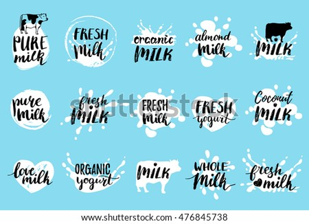 Vector hand drawn milk logos or labels. Signs set for dairy produce. Tags and elements collection for products packaging, cartons, advertising etc.