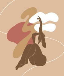 Vector  hand drawn minimalistic  illustration of  girl  isolated. Creative  artwork with abstract shapes. Template for postcard, poster, banner, print for t-shirt, label,  patch.