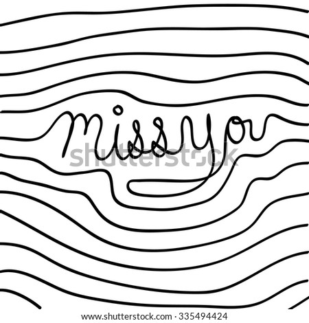 vector hand drawn miss you card