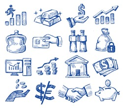 vector hand drawn money and business icons set on white