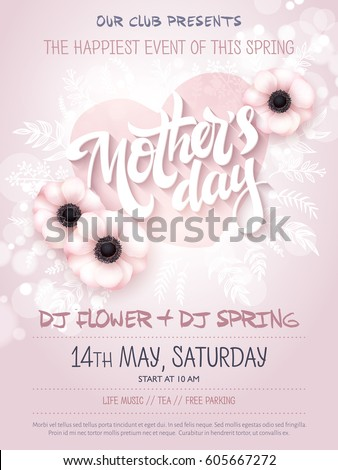vector hand drawn mothers day event poster with blooming anemone flowers, heart shaped frame, hand lettering text - mother's day and luminosity flares.