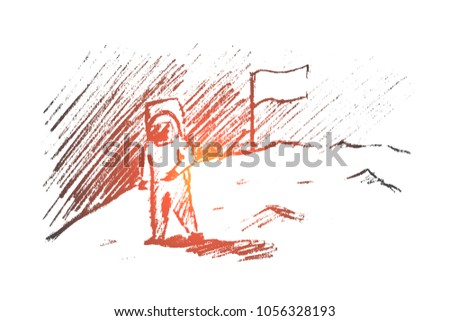 Stock Photo Vector hand drawn motivating and inspiring sketch. The first astronaut. Successful thinking and lifestyle concept