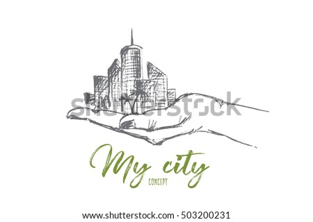 vector hand drawn my city
