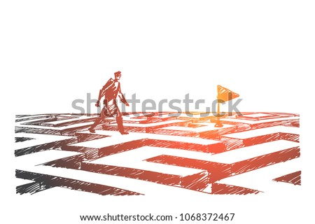 Vector hand drawn navigation concept sketch. Man walking alone above maze towards navigation flag.