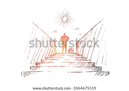 Vector hand drawn new work concept sketch. Bisinessman standing backwards at top of stairway and looking at the Sun.
