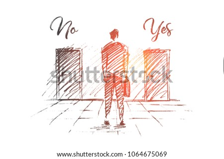 Vector hand drawn No Yes business solution concept sketch. Businessman standing backwards and trying to decide which door to open.