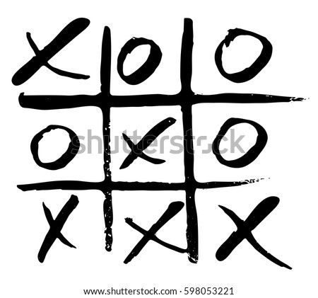 vector hand drawn noughts and crosses, tic-tac-toe competition, grungy brush illustration Photo stock ©