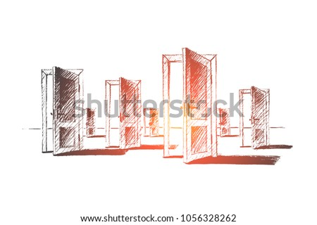 Vector hand drawn open doors concept sketch. Many open doors meaning problem of right choice and new opportunities. ストックフォト ©