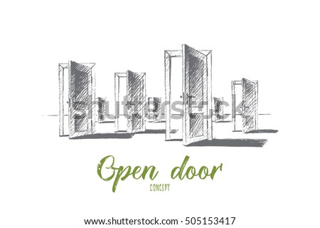 Vector hand drawn open doors concept sketch. Many open doors meaning problem of right choice and new opportunities. Lettering Open door concept ストックフォト ©