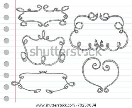 Vector hand drawn ornamental frames on a note paper