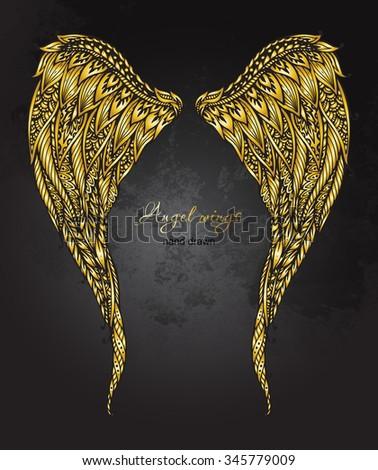 vector hand drawn ornate golden