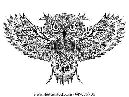 3708ec355325c Vector hand drawn Owl. Black and white zentangle art. Ethnic patterned  illustration for antistress