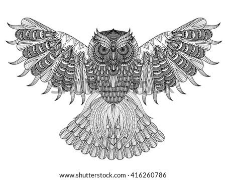 Vector Hand Drawn Owl Coloring Page In Exquisite Style 416260786
