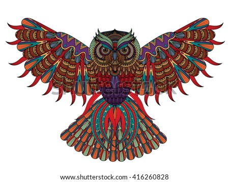 Vector Hand Drawn Owl Coloring Page In Exquisite Style 416260828