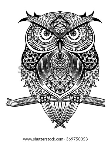 vector hand drawn owl sitting