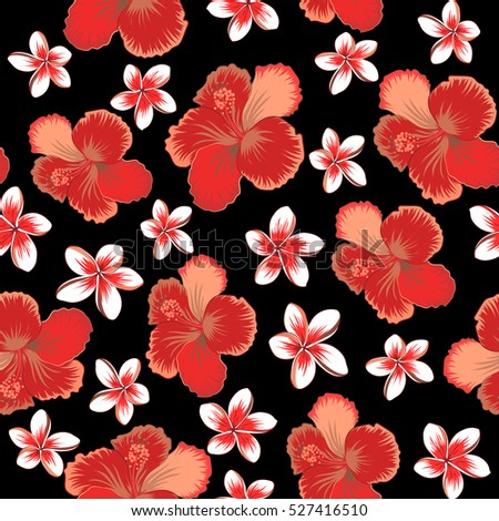 b3464d55de6a Hibiscus flower seamless pattern in brown, orange and red colors on a black  background. | EZ Canvas