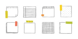 Vector hand drawn paper notes. Simple sketch notebook sheets for notes and reminders. Cute painted the outline with a pencil.
