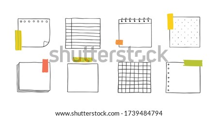 Vector hand drawn paper notes. Simple sketch notebook sheets for notes and reminders. Cute painted the outline with a pencil. stock photo