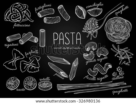 Vector hand drawn pasta menu. Vintage chalkboard line art illustration.