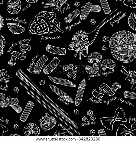 vector hand drawn pasta pattern