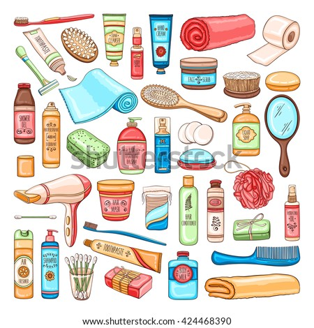 Vector hand drawn personal hygiene set of bathroom equipment, cosmetics and tools Stock foto ©