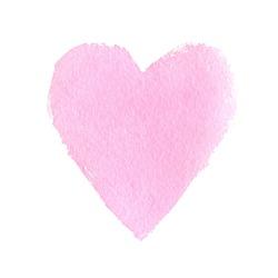 Vector hand drawn pink watercolor heart.