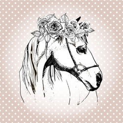 Vector hand drawn portrait of horse wearing the floral crown. Isolated on polka dot background. Vintage style engraved illustration.