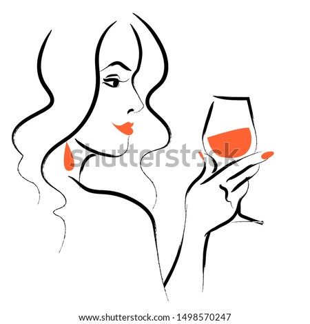 Vector hand drawn portrait of young beautiful lady  with long hair hold wine glass isolated on white background. Hand drawn sketch style. Concept for ladies night party, bar, happy cocktail hour, logo Foto stock ©