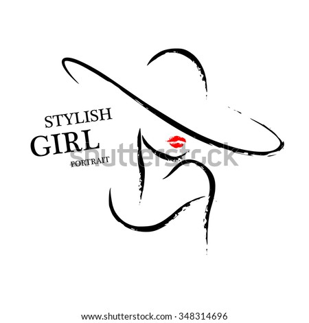 Vector hand drawn portrait of young stylish girl face isolated on white background. Artistic sketch line. Woman hat sign. Magazine cover, journal article, print, package design, shop and store logo.
