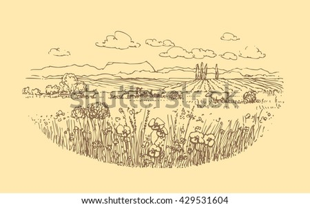 vector hand drawn rural