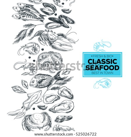 vector hand drawn sea food...