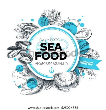vector hand drawn sea food