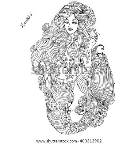 vector hand drawn sea mermaid