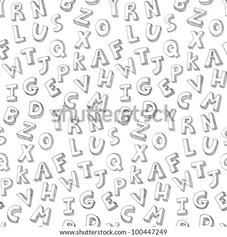 Vector hand drawn seamless pattern of letters