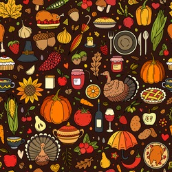 Vector hand drawn seamless pattern of Thanksgiving with pumpkin, turkey, pie, corn and etc. Holiday background for textiles, banner, wrapping paper and other designs.