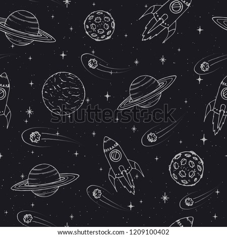 Vector Hand drawn seamless pattern with Jupiter, Mars, Saturn, Neptune planets, moon and flying rockets on the starry background. Space elements outline.