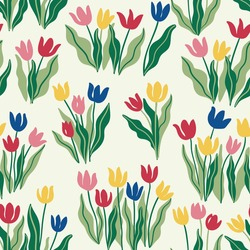 Vector hand-drawn seamless pattern with Tulip flowers in Scandinavian style. Bright illustration