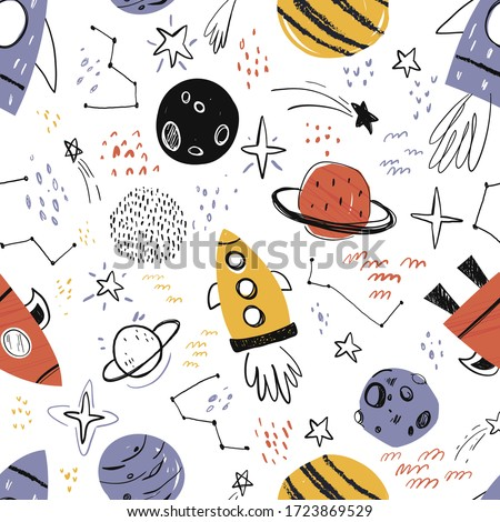 Vector hand-drawn seamless repeating color simple flat pattern with different rockets, planets and doodles on a white background. Seamless pattern with rockets. Space. Spaceship.