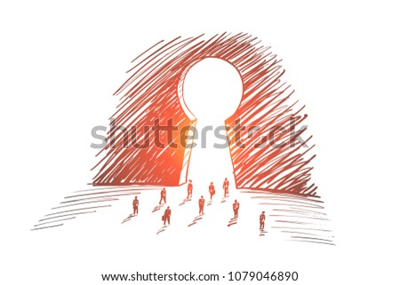 Vector hand drawn secret concept sketch with business people going towards huge keyhole