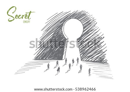 Vector hand drawn secret concept sketch with business people going towards huge keyhole and lettering