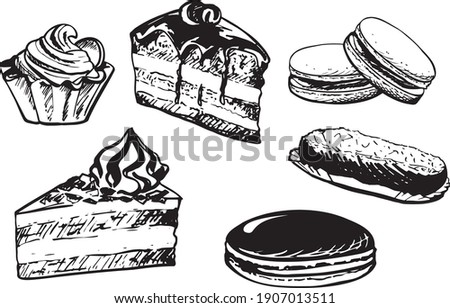 Vector hand drawn set confectionery and sweets icons Cake  pouding Vintage illustration. Photo stock ©